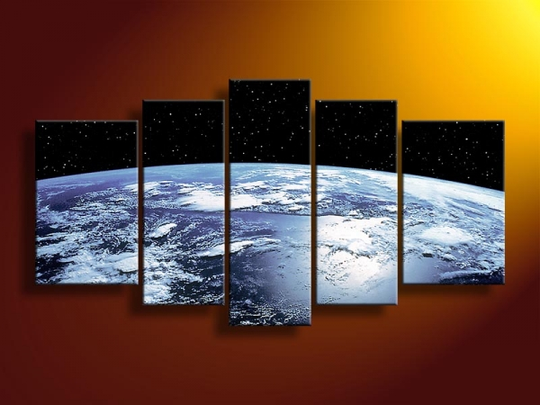 handmade modern design wall art 5 panel pieces canvas picture decorative painting the earth planet world map art painting ad008