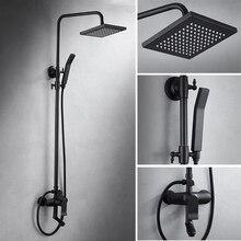 Nordic полный медный три черный душевой набор квадратный матовый душевой смеситель для душа черная Ванна душевой кран LO5111024