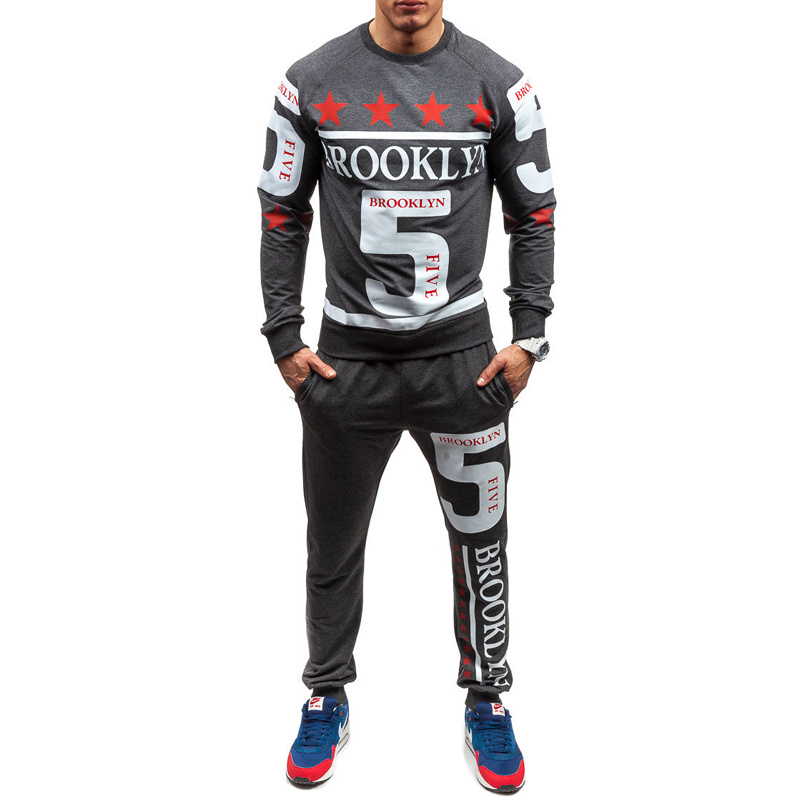 ZOGAA Spring Autumn Men Fashion Tracksuit Men Casual Printed Letter Sports Suit Male Long Sleeve Slim Streetwear 3 Colors 2019