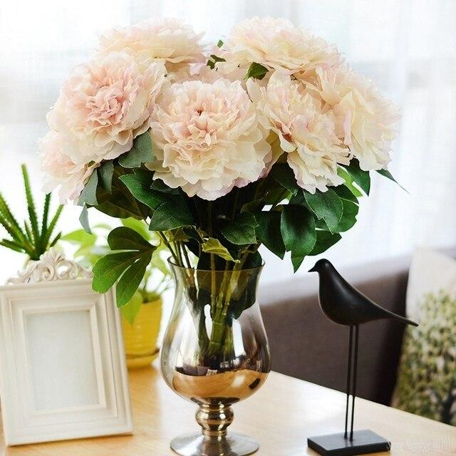 Искусственный пионы Европейский Осень яркие 5 головок Пион Шелковый цветок Настоящее сенсорный Свадебный букет невесты декоративные цветы