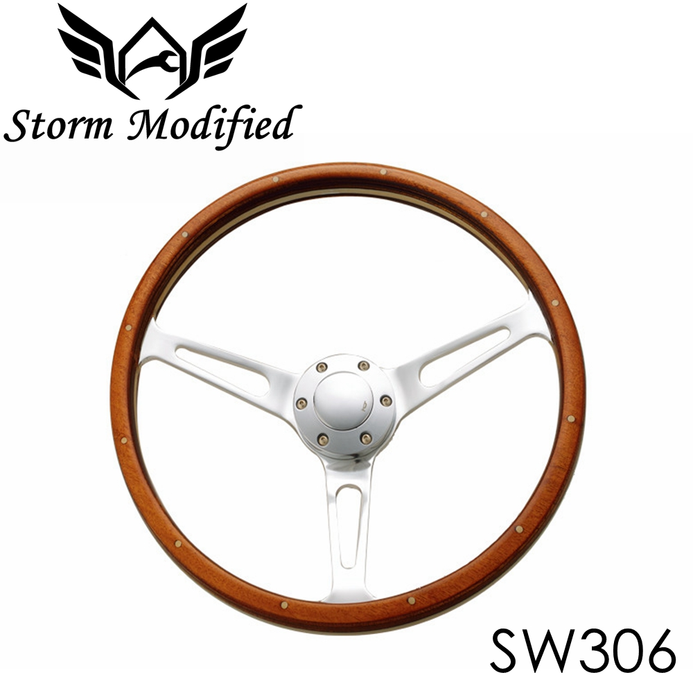 SuTong Universal Classic Real Mahogany Wood Steering Wheel with Rivet 380mm 15 inch Car Steering Wheel For Antique Car SW306 momo pai car styling steering wheel concave peach wood mahogany competitive racing retro abs universal steering wheel