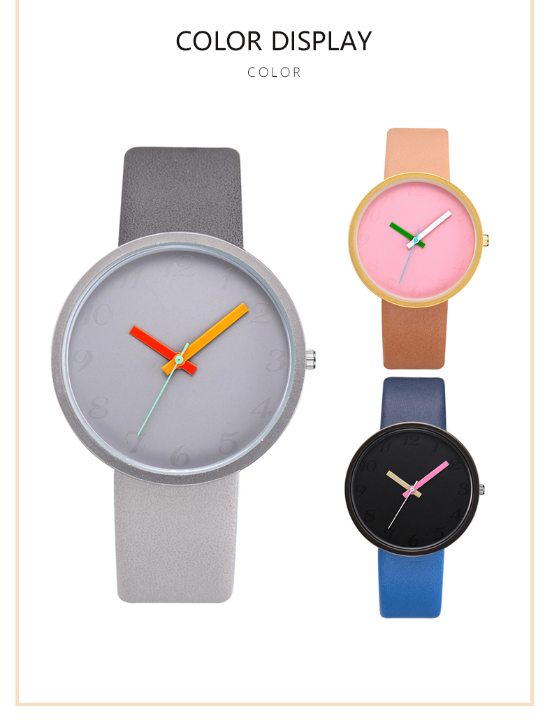 Lovers Unisex Casual Wrist Contrast Leather Quartz Watch