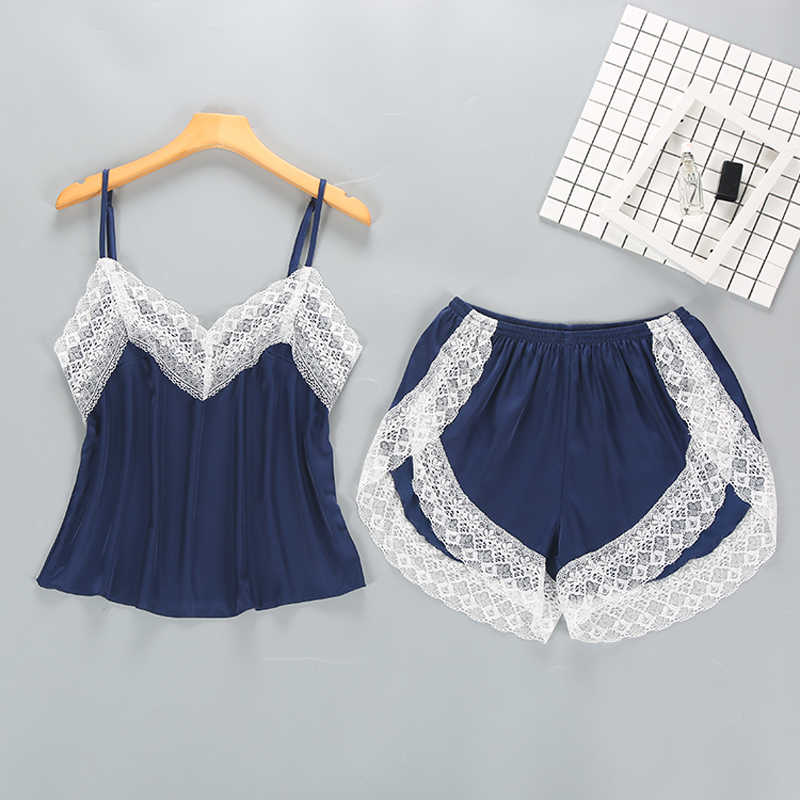 fa5d61b119 Ladies Sexy Silk Satin Sleepwear Set Lace Pajama Set Sleeveless Pyjama  Femme V-neck Pijama