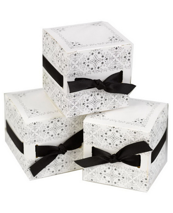 new popular brown ivory ribbon weave party favor box kitswedding favor box 12pcs