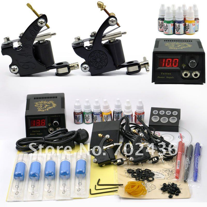Professional Tattoo Machine Set 2 Tatoo Guns 7 Color Inks complete tattoo kit rotary tattoo Machine Power Supply body art