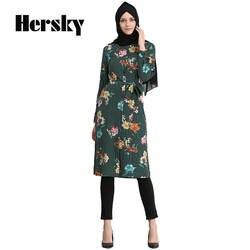 Мода баю мусульманин Для женщин Длинные Топы Абаи Дубай Кафтан араб Musulman рубашка с длинными рукавами турецкая исламская блузки платье