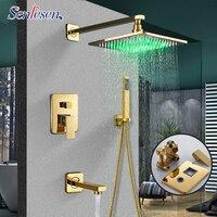 Senlesen золото латунь смеситель для душа с 8 светодиодный Насадки для душа W/ручной душ Para Ванная комната набор для душа настенное крепление ва