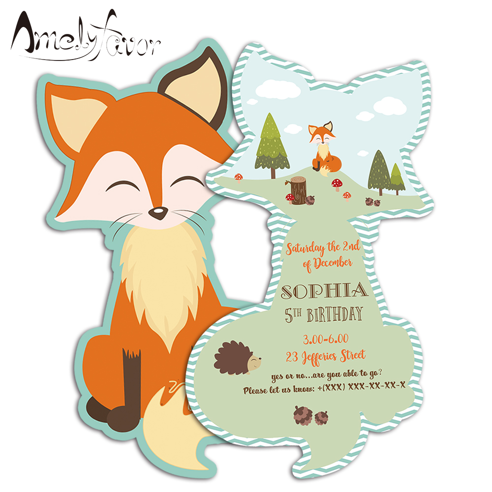 Us 6 65 26 Off Woodland Animals Theme Invitations Card Birthday Party Fox Birthday Party Decorating Supplies Kids Event Birthday Invitations In