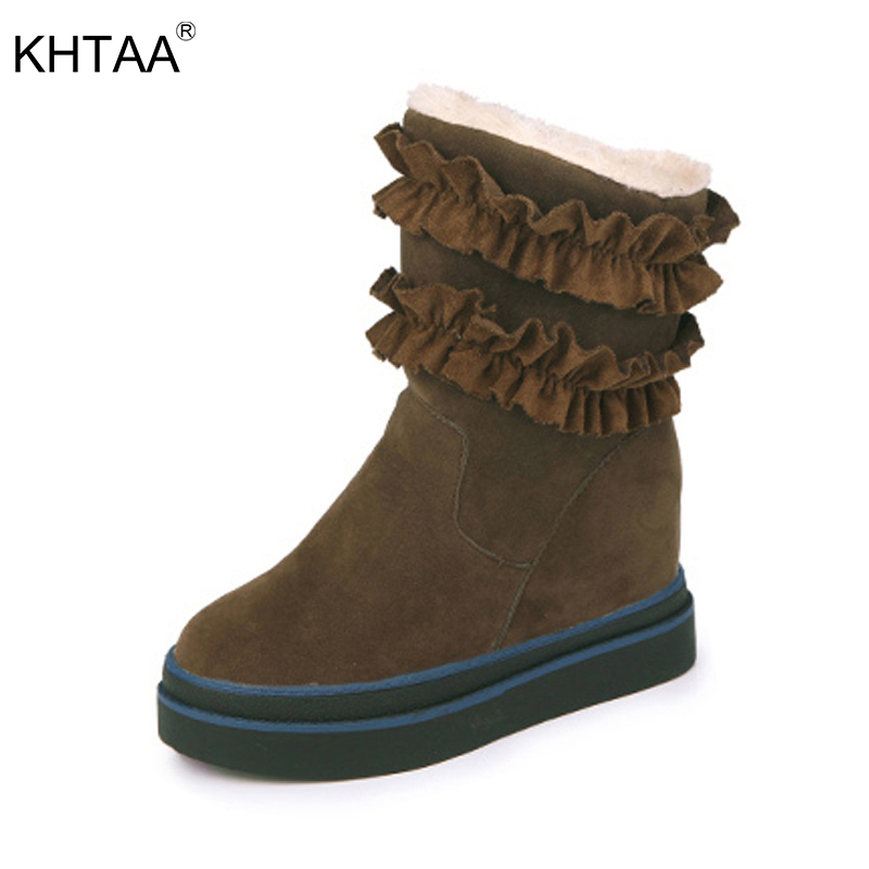 KHTAA Ladies Winter Warm Plush Ankle Snow Boots 2017 Women Fashion Lotus Leaf Side Fur Slip On Platform Solid Style Shoes mcckle female winter warm plush ankle snow boots 2017 women fashion lotus leaf side fur slip on platform solid style shoes