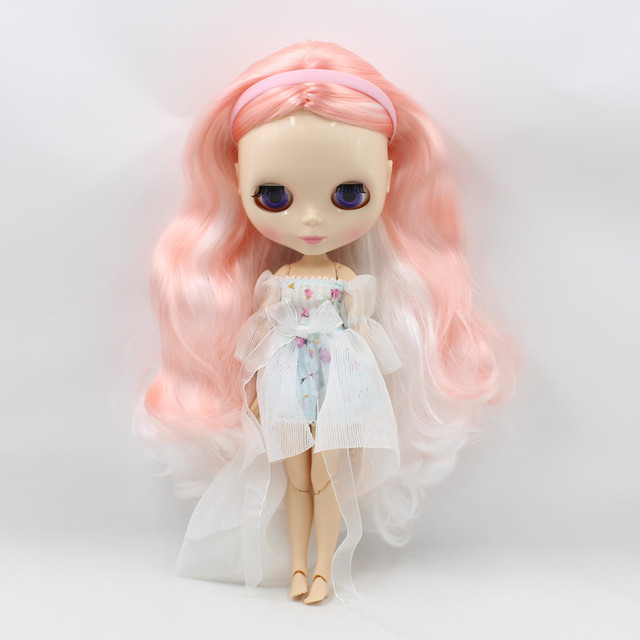 Neo Blythe Blue White Floral Chic Dress with Lace