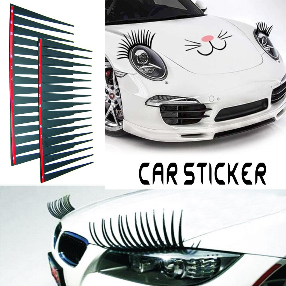 2pcs Fashion Headlight Eyelash Sticker Car Eyelashes Decal False