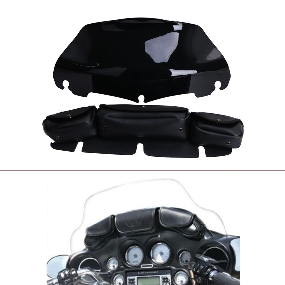 8 Black Windshield Windscreen Bag Saddle 3 Pouch Pocket for Harley Touring Electra Glide 1996 2013