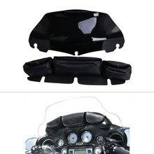 8 «Черный Лобового Стекла Ветрового + Сумка Седло 3 Чехол Карман для Harley Touring Electra Glide 1996-2013 C/5