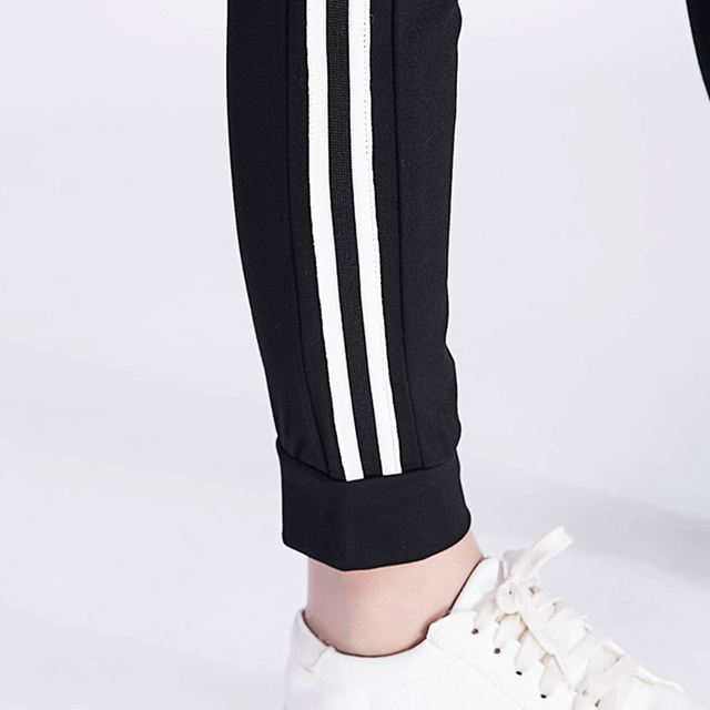 New 2017 Women Cotton Casual Pants Spring Summer Stripes Side Female Bottoms Ladies Trousers Loose Black Sweatpants Plus Size 10