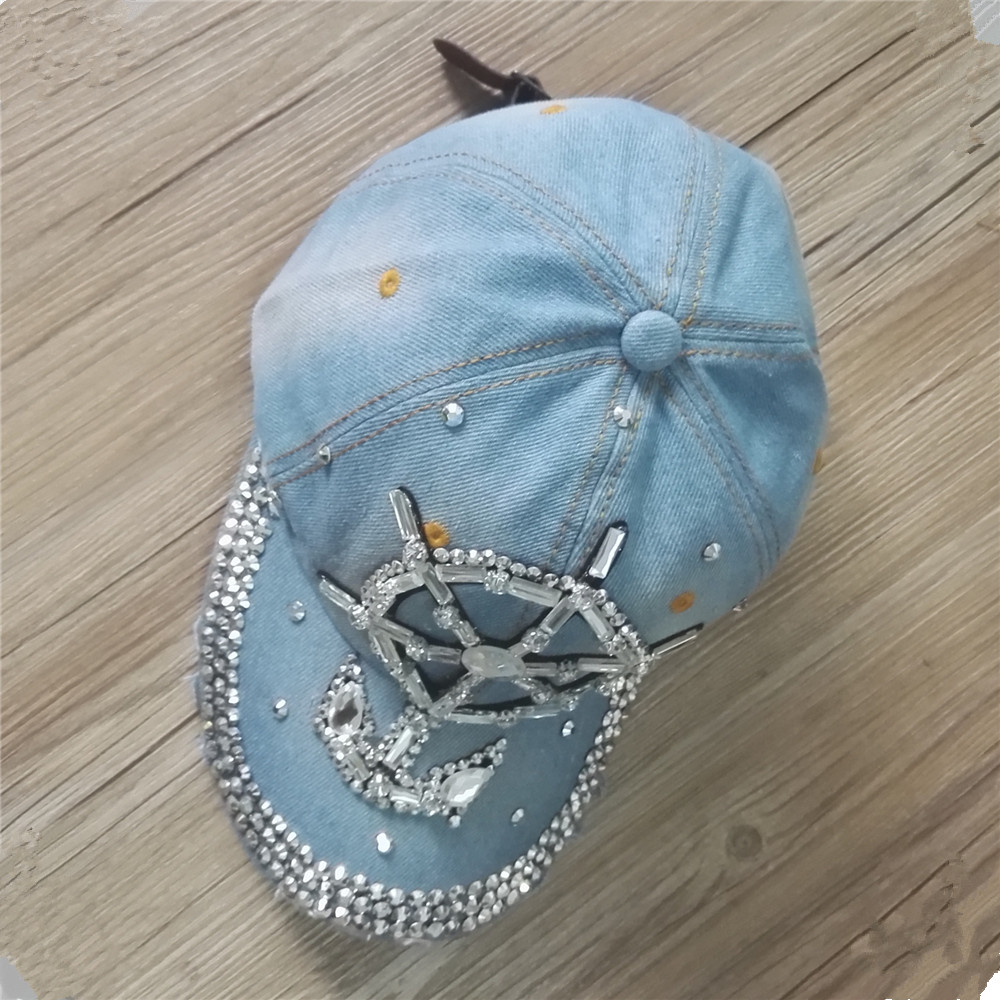 2016D56 cotton bling bling Rhinestone man made diamond anchor hat   baseball     caps
