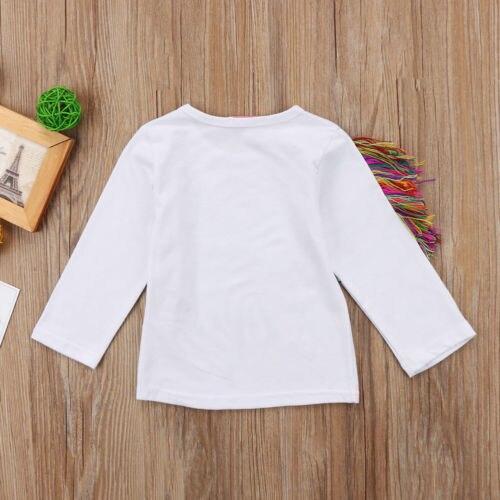 1-6 T Unique enfant en bas âge enfants filles été décontracté O cou à manches longues licorne hauts coton T-shirt vêtements 2