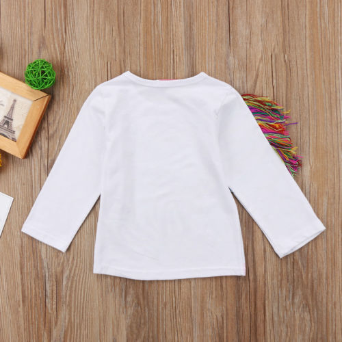 1-6T Unique Toddler Kids Girls Summer Casual O Neck Long Sleeve Unicorn Tops Cotton T-shirt Clothes 2