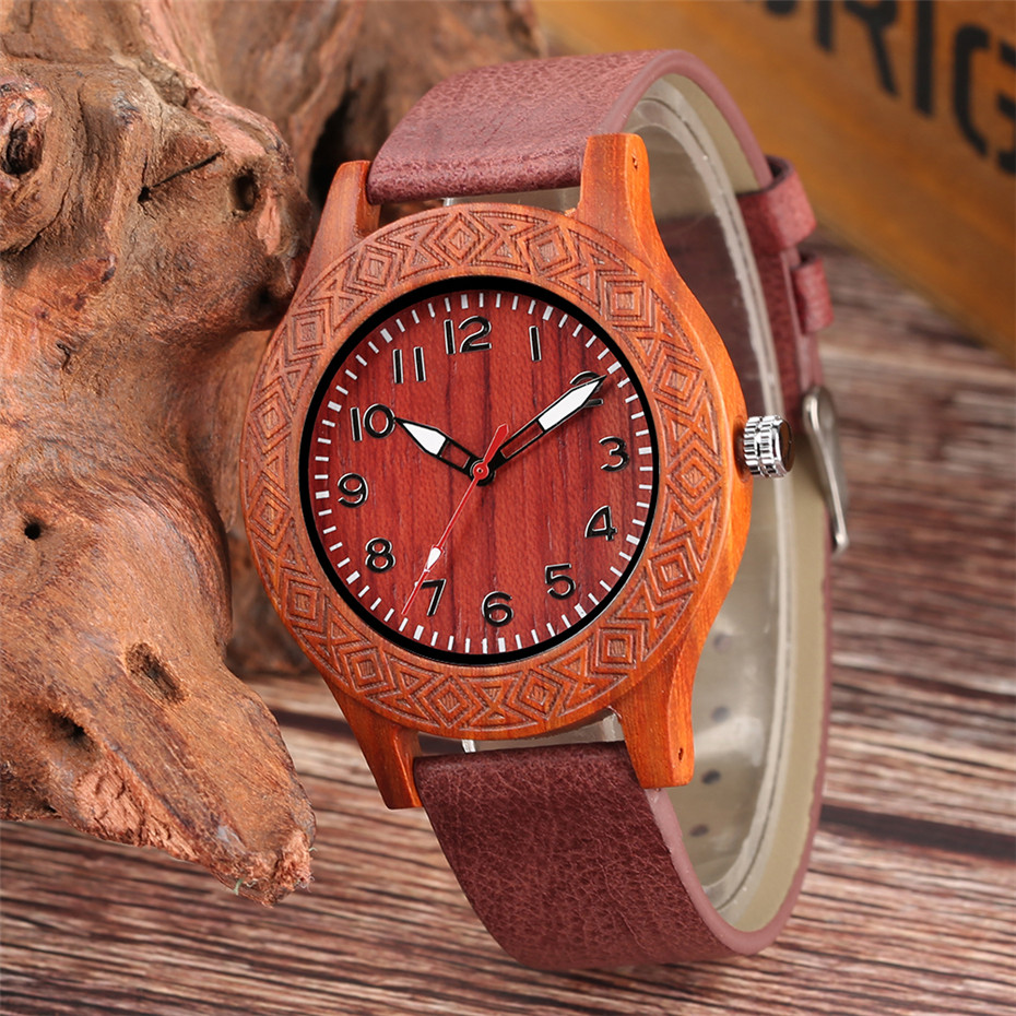 Red Wooden Watch for Men Women