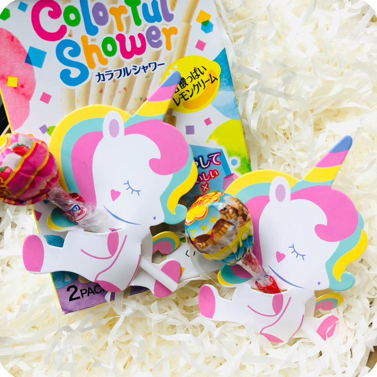 9x6 5cm Unicorn Lollipop Decoration Message Card Unicorn Party Candy Lollipop Decoration Card For Kids Girl Birthday Party Favor in Party DIY Decorations from Home Garden