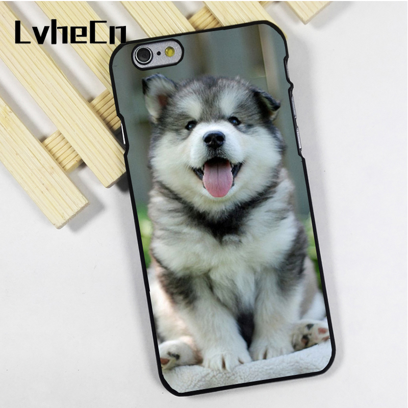 LvheCn phone case cover fit for iPhone 4 4s 5 5s 5c SE 6 6s 7 8 plus X ipod touch 4 5 6 Adorable Husky Malamute Wolf Puppy Dog