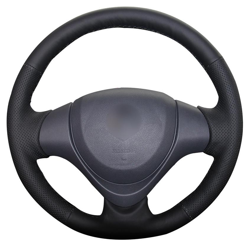 MEWANT Black Genuine Leather Car Steering Wheel Cover for Suzuki Jimny 2015 runba ice silk steering wheel cover sets with red thread