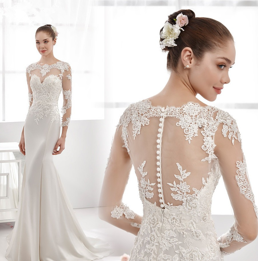 New Arrival Sexy Wedding   Dress   2018 Long Sleeves Court Train Lace Satin Mermaid   Bridesmaid     Dresses   Button Back plus size maxi