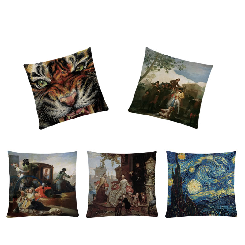 45*45cm Cushion Covers Art Oil Painting Printed Pillows Covers Home Decoration For Sofa Chair Seats Cotton Linen Pillows Cases