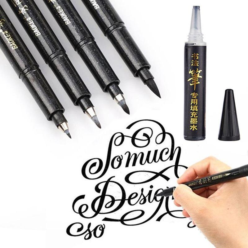Calligraphy Pen Brush Pen Pens Lettering Lettering Hand Markers For Writing DrawingBlack Ink Holder Pencil Grip School-supplies