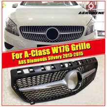 W176 Diamond grille grill ABS Silvery without sign A class A180 A200 A220 A250 A45 look Sports Front Bumper Kidney Grills 13-15