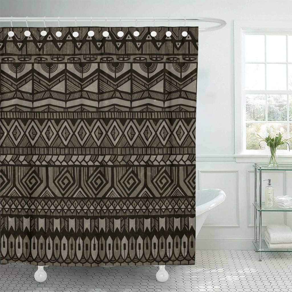 Fabric Shower Curtain With Hooks Brown African Tribal Abstract Geometric Tribe Vintage Artistic