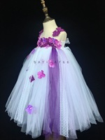 Śliczne Dziewczyny Ubierają Dzieci Szydełka Fioletowy Kwiat Tutu Dress Ball suknia z Wstążką Łuk i Pałąk Dzieci Wesele Koronki sukienka