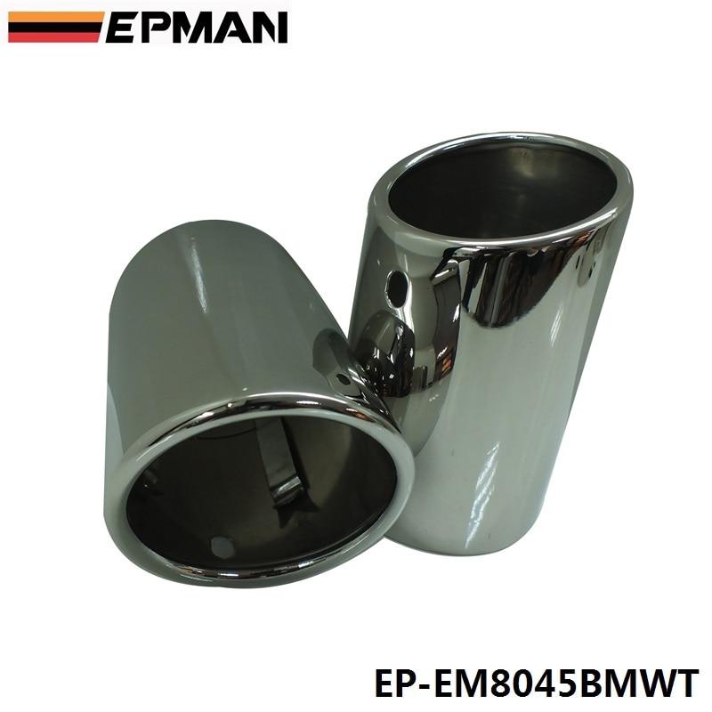 Prix pour EPMAN 2 x PAS de VIS En Acier Argent Silencieux D'échappement Tail Pipe Astuce Pour BMW F25 X3 xDrive28i EP-EM8045BMWT