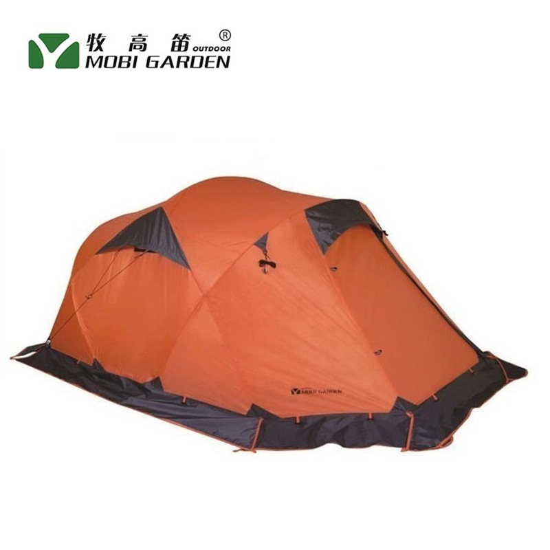все цены на Mobi garden outdoor camping tent! 4 seasons double layer aluminum tent! Two rooms big camping tent! Super large 3-4 persons tent