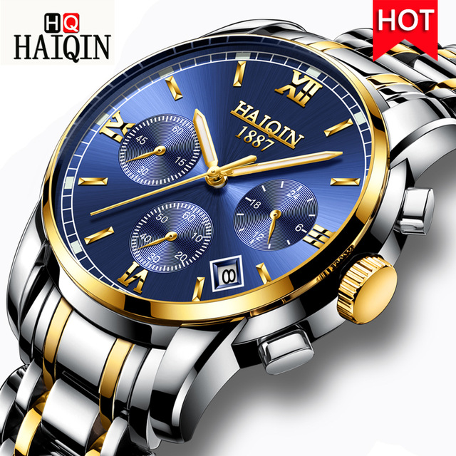 HAIQIN New Mens Watches Military Luxury Top Brand Quartz Stainless Steel Clock Fashion Chronograph Watch Man Relogio Masculino HAIQIN New Mens Watches Military Luxury Top Brand Quartz Stainless Steel Clock Fashion Chronograph Watch Man Relogio Masculino