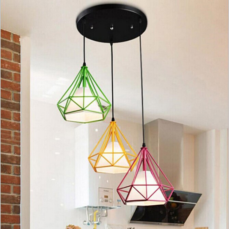 Colorful Birdcage Pendant Lamp Scandinavian Modern Minimalist Art Pyramid Iron Pendant Light Diamond Creative Restaurant Lights цена
