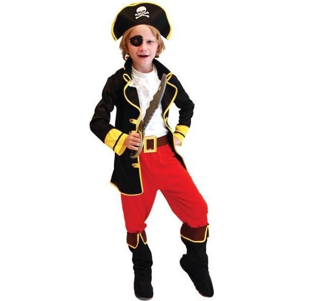 Hot Sale 6PCS Kids Boys Jack Pirate Cosplay Fancy Dress Halloween Carnival Party Costumes Size M-2XL
