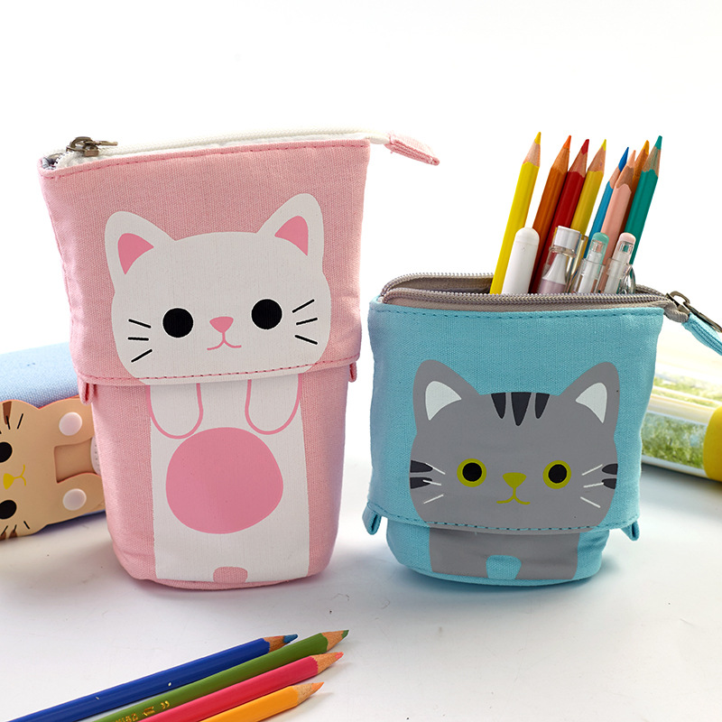 Kawaii Cute Animal Cartoon Pencil Case Zipper Cat Boys Girls Student Pencil Bag Pen Box School Stationery Gift Supplies deli 66731 pikachu series pencil bag cartoon pokemon cute school zipper stationery pencil case pencil bag