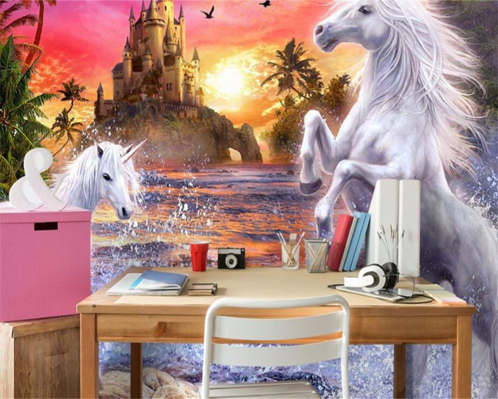 3D wallpaper red sky castle stream waterfall rainbow white horse children room background wall mural 3d wallpaper beibehang stream хатанга 3 sport