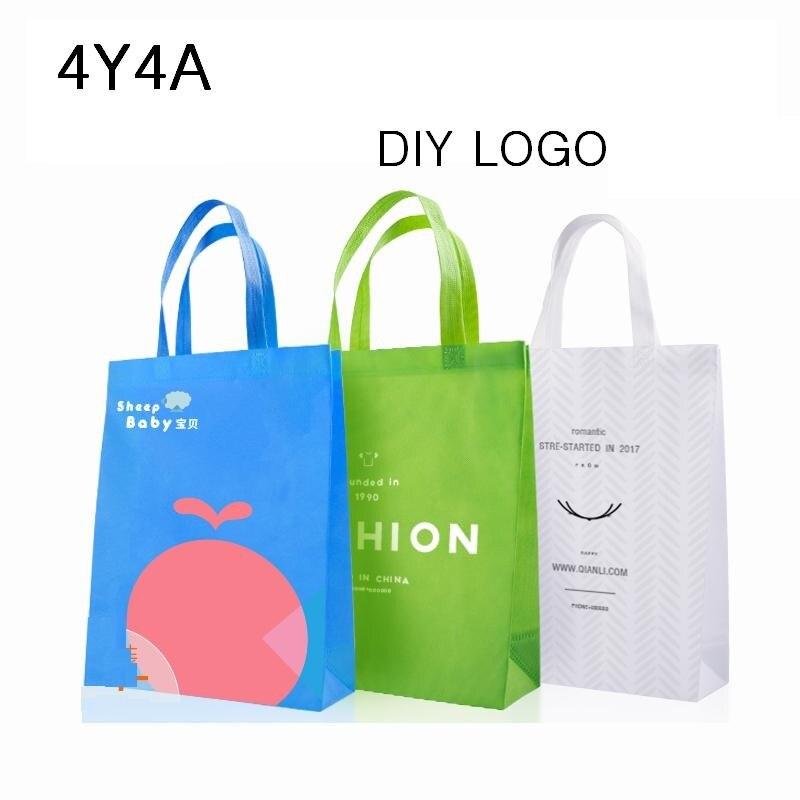 [4Y4A] 100pcs/Lot Accept Custom Logo Non-woven Bag Eco Bag Shopping Bag