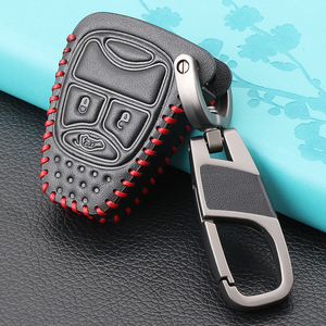 3 Button Leather key Cover Case for CHRYSLER 300 PT Cruiser Sebring Dodge Caliber Nitro Jeep Compass Liberty Remote Fob Key(China)