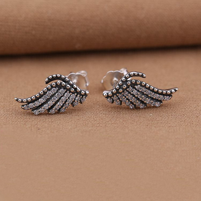 Phoenix Feather Silver Stud Earrings With Cubic Zirconia 925 Sterling Angel Wing For Women