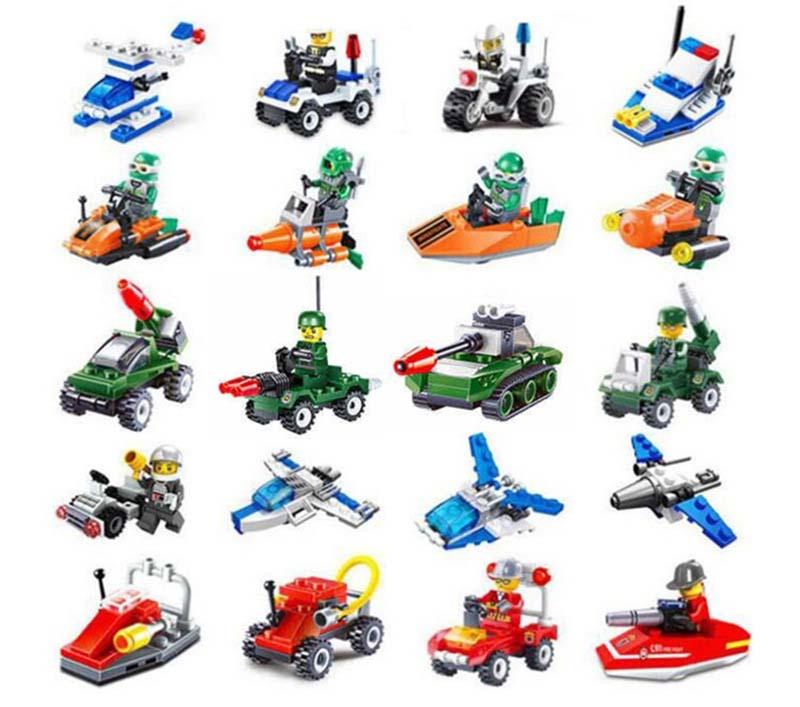 10 Kinds Mini Transportation Block Car Building Compatible LegoeINGlys Toys Gifts