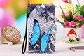 Para gigabyte gsmart caso elite com slots de cartão de couro de alta qualidade pu pintura azul da borboleta & da coruja case + presente cordão