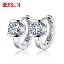 Bersun 2016 New 925 Sterling Silver Women Small Earrings Fashion Fine Jewelry Angel Kiss Luxury Crystal Stud Earrings Wholesale