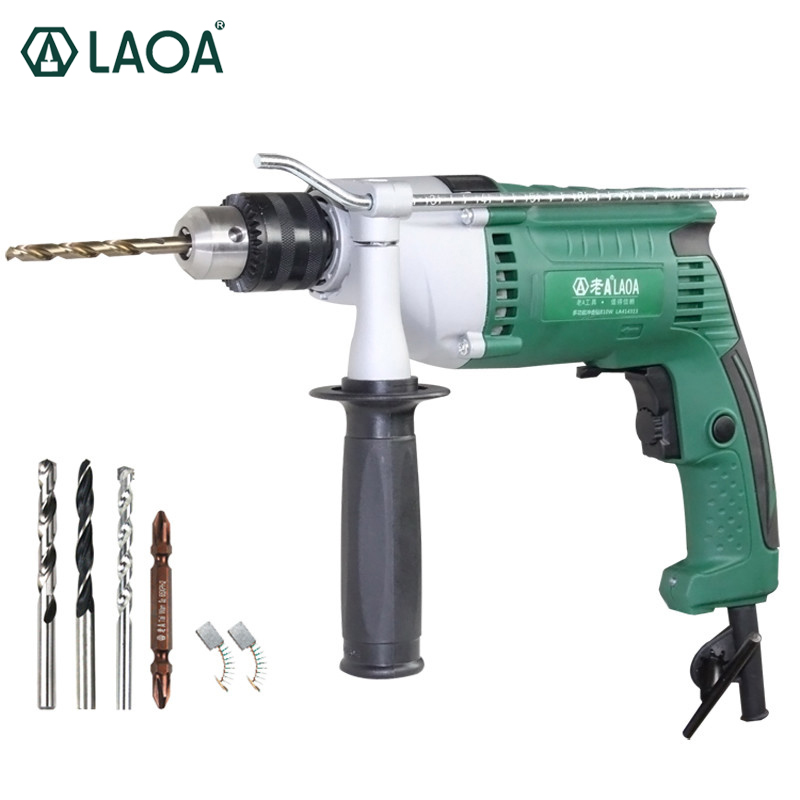 LAOA 810W 13mm Multi-functional household Electric Drills Impact Drill Power Tools for Drilling ceremic,wood,steel plate multi purpose impact drill for household use la414413 upholstery drilling wall percussion impact drill set power tools 220v 810w