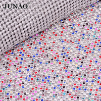 JUNAO 45x120cm Mix Color Crystal Trim Glass Rhinestones Fabric Strass Ribbon Crystal Mesh Applique for DIY Party Dress Clothes