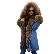 Women's Denim Parkas Winter Fur Liner Thick Warm Coat Big fur collar Hooded Tops Female Plus size Cotton Jacket Long Coats A2375(China)