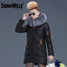 SKINNWILLE  Ms 2016 winter long down jacket with fur collar thick down jacket