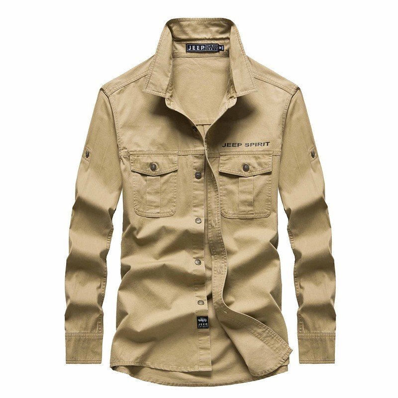 JEEP SPIRIT 2018 automne printemps hommes robe chemises en coton décontractées Style militaire chemise hommes droite à manches longues de haute qualité chemise