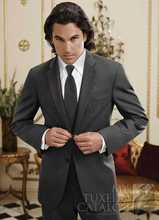 Popular Style Two Buttons Dark Grey Groom Tuxedos Groomsmen Men's Wedding Prom Suits Bridegroom (Jacket+Pants+Vest+Tie) K:1132